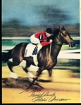 "Autographed Eddie Arcaro 1940's 8-3/8"" x 10-¾"" Color Magazine Photo- Appears to be riding Citation"