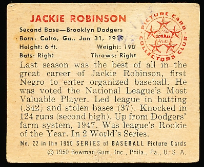 1950 Bowman Bb- #22 Jackie Robinson, Brooklyn Dodgers