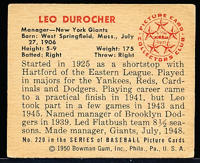 1950 Bowman Bb- #220 Leo Durocher, Giants