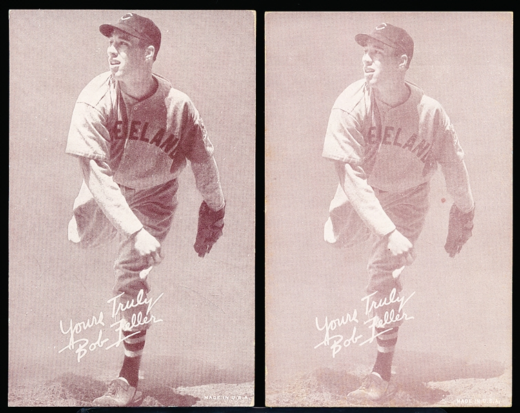 1939-46 Salutation Baseball Exhibits- Bob Feller, Yours Truly- 2 Variations- Both Pitching Versions