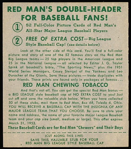 1952 Red Man Baseball- With Tab- AL #23 Ted Williams, Red Sox