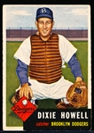 1953 Topps Baseball- #255 Dixie Howell, Dodgers- Hi#