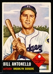 1953 Topps Baseball- #272 Bill Antonello, Dodgers- Hi#
