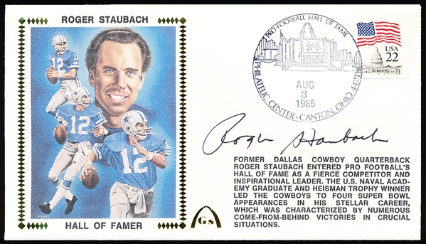 Autographed August 3, 1985 Gateway Postal Cachet NFL- Roger Staubach Hall of Famer