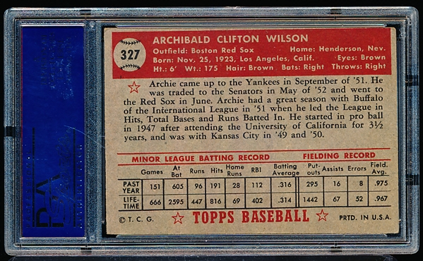 1952 Topps Baseball- #327 Archie Wilson, Red Sox- PSA Ex 5- High Number