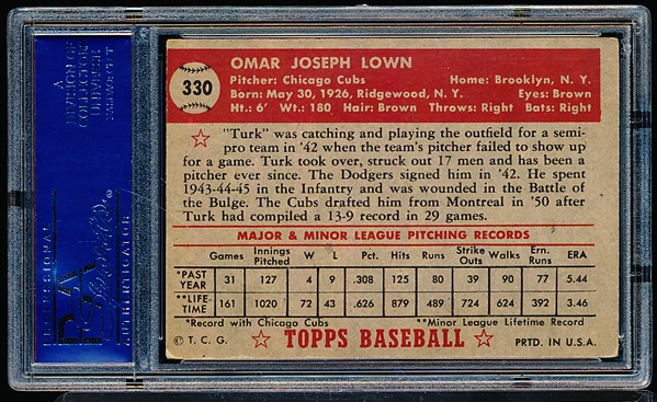 1952 Topps Baseball- #330 Turk Lown, Cubs- PSA Ex 5- High Number!
