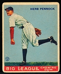 1933 Goudey Bb- #138 Herb Pennock, Yankees- Hall of Famer!