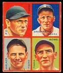 "1935 Goudey ""4 in 1"" Baseball- #8F Detroit Tigers (Fox/ Hank Greenberg/ Rowe/ Walker)"