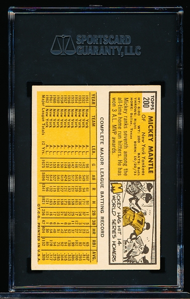 1963 Topps Bb- #200 Mickey Mantle, Yankees- SGC 6 (Ex-Nm)