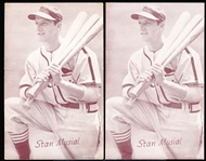 1947-66 Baseball Exhibits- Stan Musial, Cardinals (Holding 3 Bats)- 2 Cards