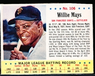 1963 Jello Bb- #106 Willie Mays, Giants