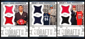 "2006 Topps ""Draft Day Moments Dual Jerseys"" Inserts- 3 Diff."