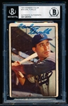 Autographed 1953 Bowman Bsbl. #78 Carl Furillo, Dodgers- Beckett Certified/ Slabbed