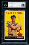 Autographed 1958 Topps Bsbl. #417 Carl Furillo, Dodgers- Beckett Certified/ Slabbed