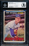 Autographed 1967 Topps Bsbl. #55 Don Drysdale, Dodgers- Beckett Certified/ Slabbed