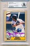 Autographed 1987 Topps Bsbl. #530 Tony Gwynn, Padres- Beckett Certified/ Slabbed
