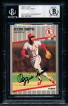 Autographed 1989 Fleer Bsbl. #463 Ozzie Smith, Cardinals- Beckett Certified/ Slabbed