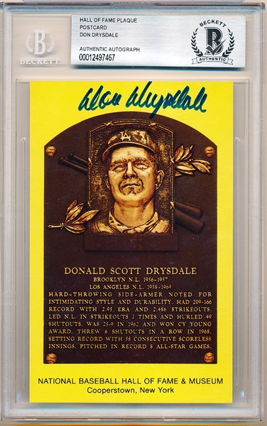 Autographed Baseball Hall of Fame Yellow Plaque Postcard- Don Drysdale- Beckett Certified/ Slabbed