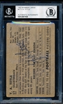Autographed 1952 Bowman Large Ftbl. #17 Y. A. Tittle, 49ers- Beckett Certified/ Slabbed