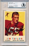 Autographed 1959 Topps Ftbl. #155 Jim Taylor RC- Beckett Certified/ Slabbed