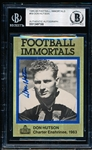 Autographed 1985-88 Football Immortals #59 Don Hutson- Beckett Certified/ Slabbed
