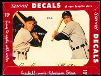 1952 Star Cal Decal with Red Envelope- Type 2- #89B Ferris Fain/ Gus Zernial