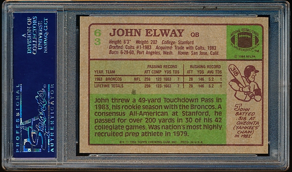 1984 Topps Football- #63 John Elway, Broncos- PSA Nm-Mt 8