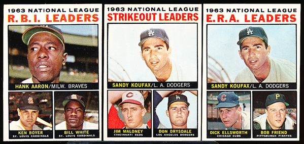 1964 Topps Bb- 3 Diff Leaders
