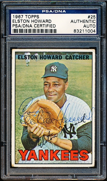 Autographed 1967 Topps Bsbl. #25 Elston Howard- PSA/ DNA Certified/ Slabbed
