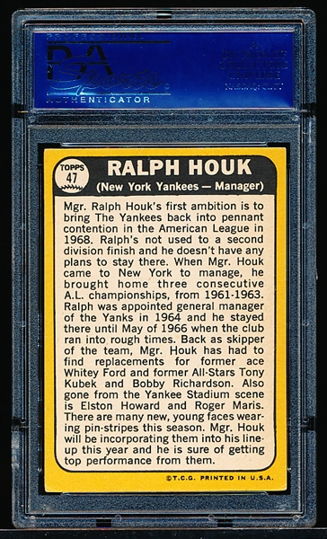 Autographed 1968 Topps Bsbl. #47 Ralph Houk- PSA/DNA Certified/ Slabbed