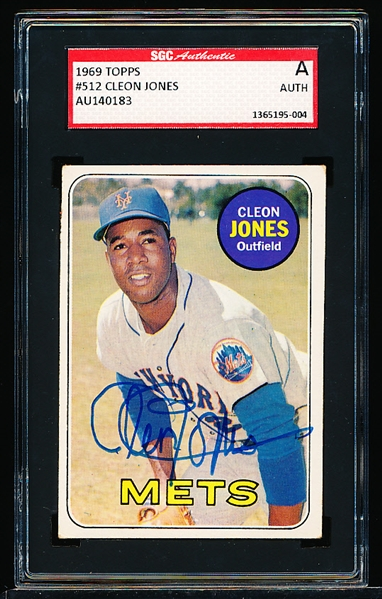 Autographed 1969 Topps Bsbl. #512 Cleon Jones- SGC Certified/ Slabbed