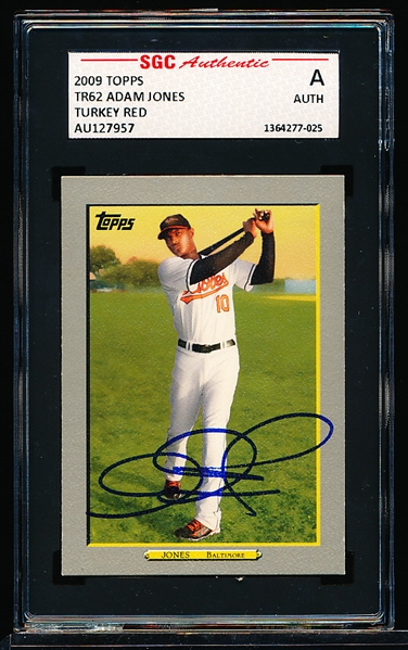 Autographed 2009 Topps Turkey Red Bsbl. #62 Adam Jones- SGC Certified/ Slabbed