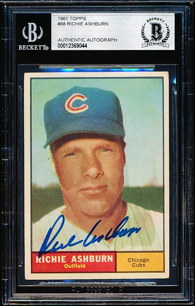 1961 Topps Baseball Autographed Card- #88 Richie Ashburn, Cubs- Beckett Authenticated & Encapsulated