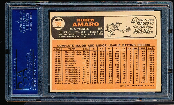 1966 Topps Baseball Autographed Card- #186 Ruben Amaro, Yankees- PSA/ DNA Authenticated & Encapsulated
