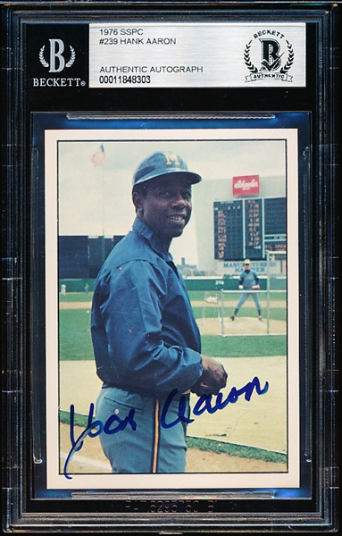 1976 SSPC Baseball Autographed Card- #239 Hank Aaron,Braves- Beckett Authenticated & Encapsulated